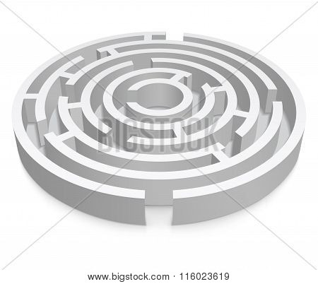 White Round 3D Labyrinth On White Background