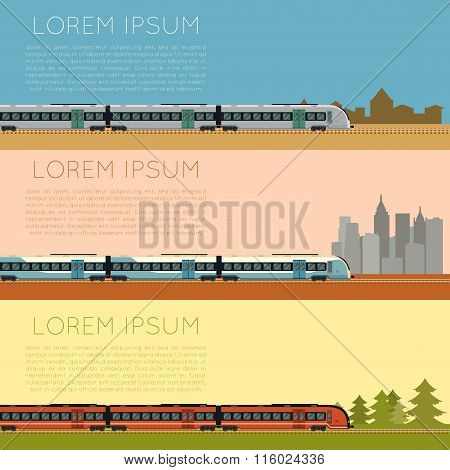 Set of commuter  train banners