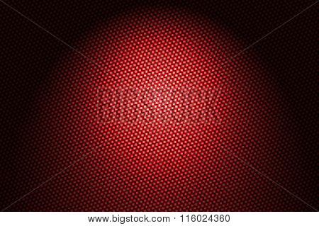 Spotlight On Red Carbon Fiber Background.