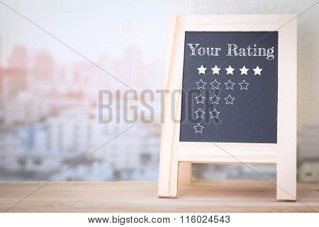 Concept Your Rating message on wood boards