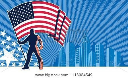 Flag Bearer Usa Background