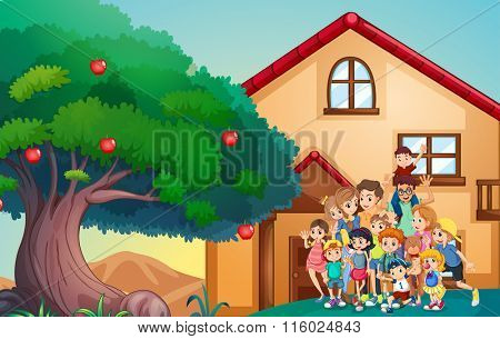 Family members in front of the house illustration
