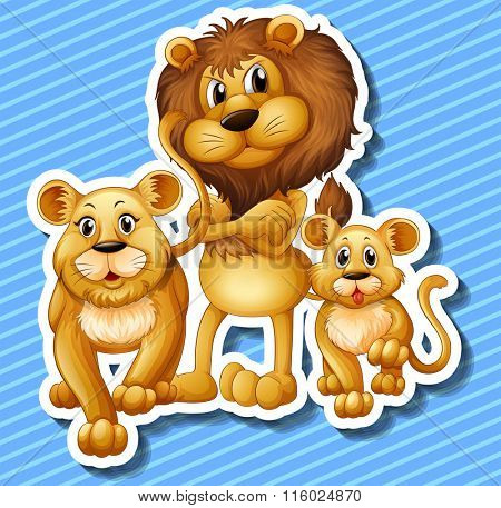 Lion family with little cub illustration