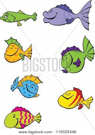7 Funny Cartoon Fishes.