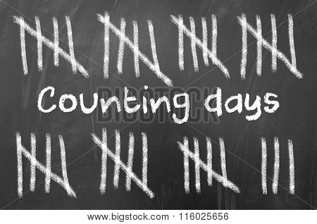 Counting days concept using chalk and blackboard.
