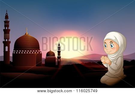 Muslim girl praying at the mosque illustration
