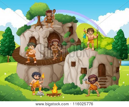Cave people living in the stone house illustration