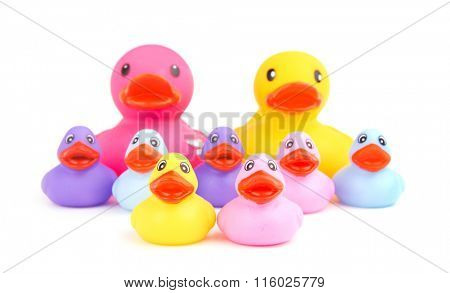 Family of rubber ducks, with parents on the background - concept of family togetherness