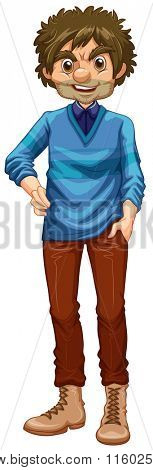 Hipster man wearing sweater and boots illustration