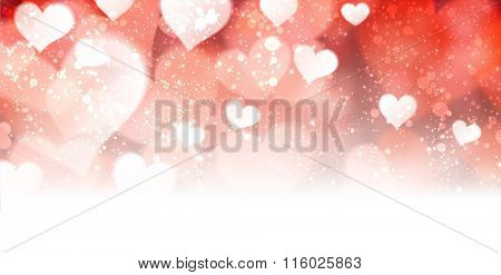 Valentine blurred abstract background with hearts. Vector illustration.