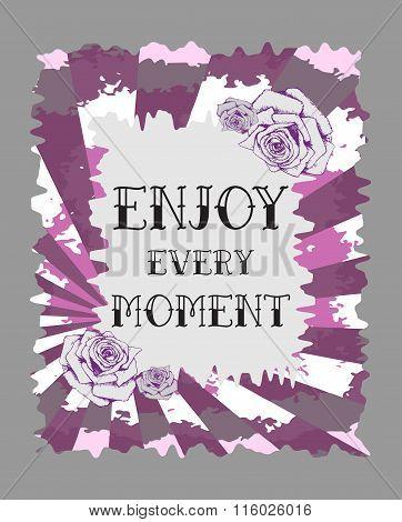 Floral Fashion Design Card With Slogan