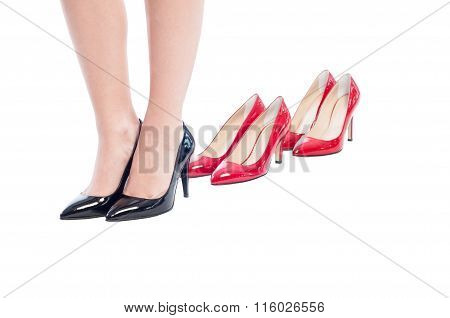 Black Business Woman Shoes Versus High Heel Red