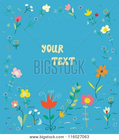 Floral Card With Frame - Simple Design