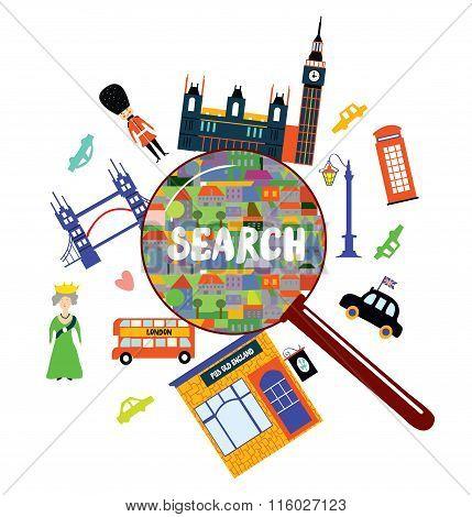 London Landmark Searching Concept