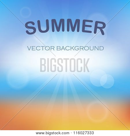Summer time background with text - illustration. Vector illustration of a glowing Summer time backgr