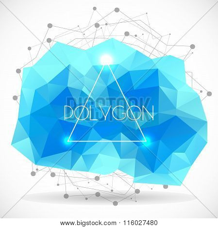 Polygonal Abstract Cyan Shape. Concept Of Futuristic Minimalism Style Isolated On White Background.