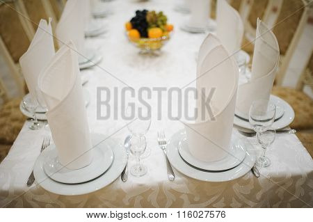 Table Setting With Plate, Spoon, Fork And Knife