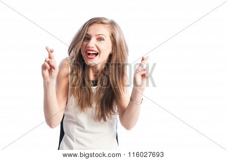 Woman Holding Fingers Crossed.