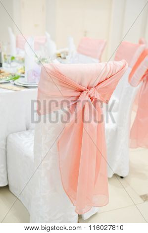 Banquet Wedding Chairs Setting On Evening Reception