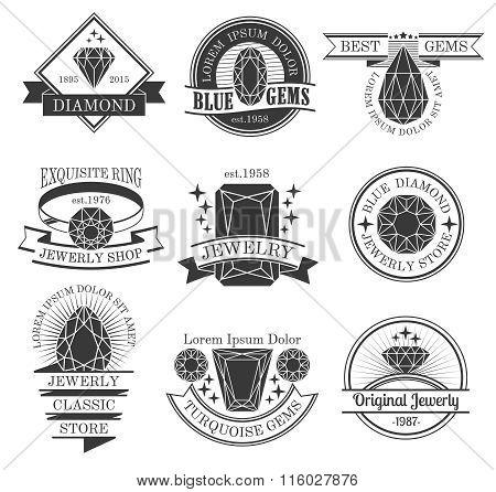 Gemstones Black White Emblems Set