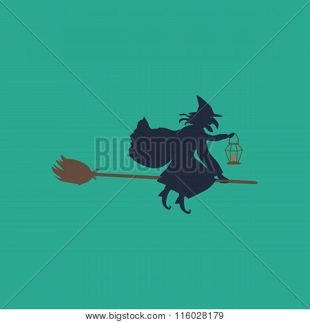 Halloween witch. Silhouette.