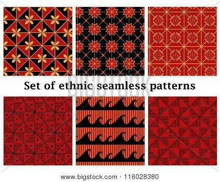 Set of ethnic geometric seamless patterns