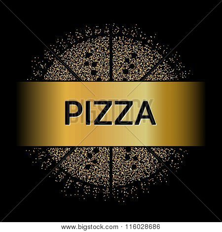 Abstract Creative concept vector design layout with text - pizza. For web and mobile icon isolated o