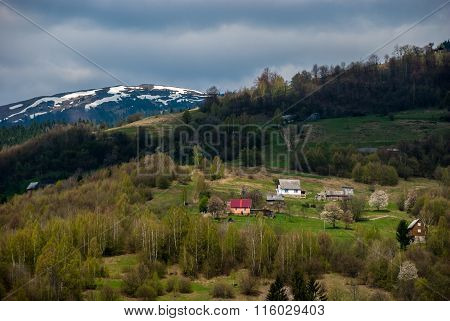 Carpathians. Mountains. Houses