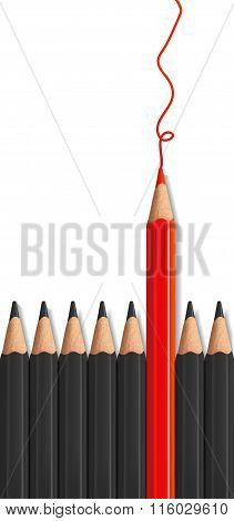 One Red Pencil Standing Out From The Row Of Black Pencils.