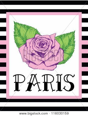 Old Style Paris Print Slogan Striped Background. For T-shirt Or Other Uses,in Vector.