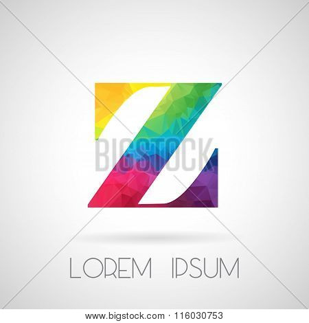 Logo Abstract Polygonal Z Letter In Frame, Design For Corporate Business Identity
