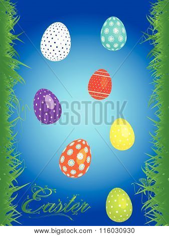 Easter Floral Background With Eggs