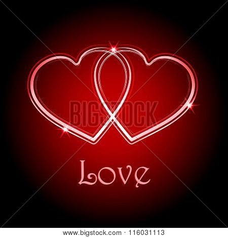 Interlocked Love Hearts Background