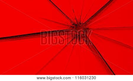 Red flag painted on broken glass
