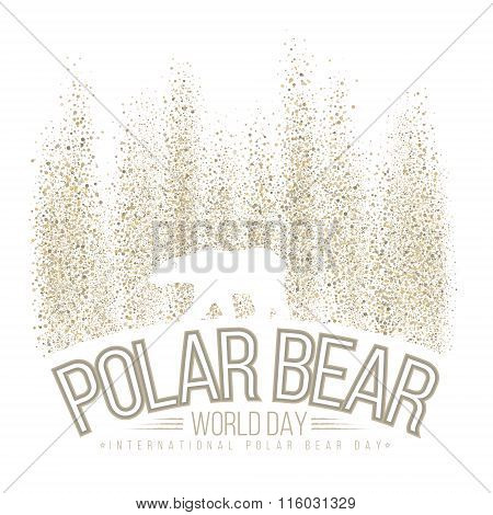 Polar bear on the background of the northern lights. International day of polar bear. Vector illustr