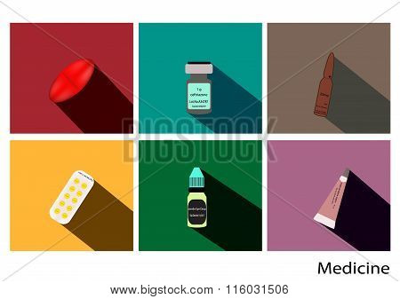 Medicine  flat icons set with long shadow ,drug vector image,pill pack,abstract