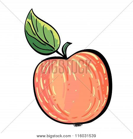 Hand drawn red apple with a leaf.