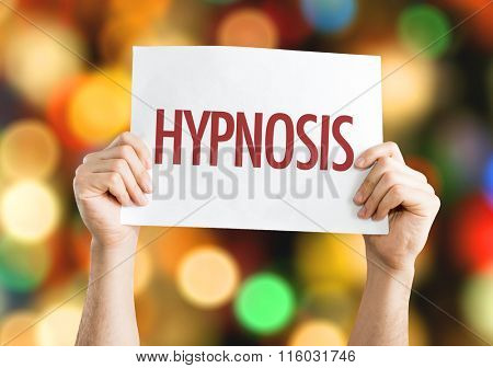 Hypnosis placard with bokeh background