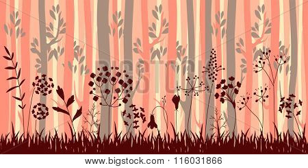Seamless horizontal pattern with herbs and trees. Endless pattern brush with stylized forest