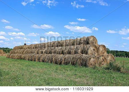 Haystacks On The Farm In Field