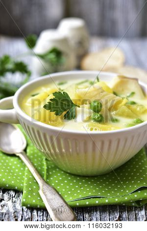 Chowder With Potato,cod And Green Pea.