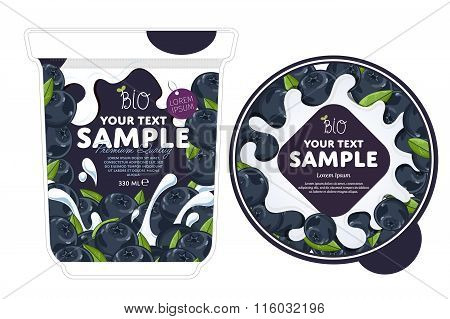Blueberry Yogurt Packaging Design Template.