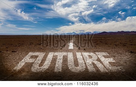 Future written on desert road