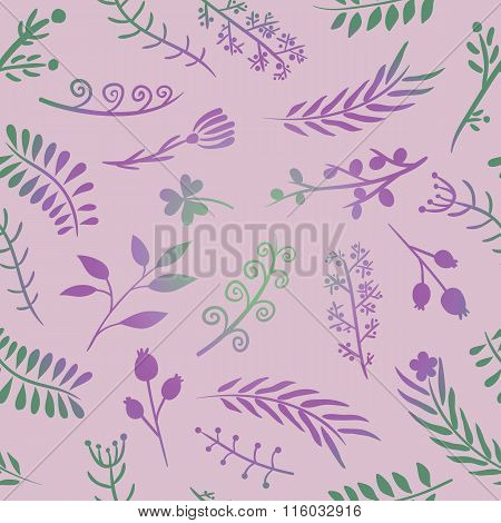 Floral doodle vector seamless pattern in pink.