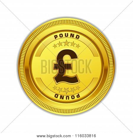 Pound Currency Sign Gold Coin Vector Icon