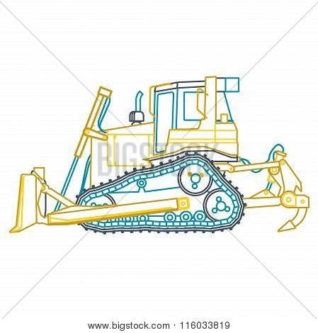 Blue yellow outline big digger builds roads on white.