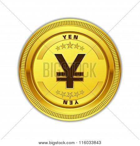 Yen Currency Sign Gold Coin Vector Icon