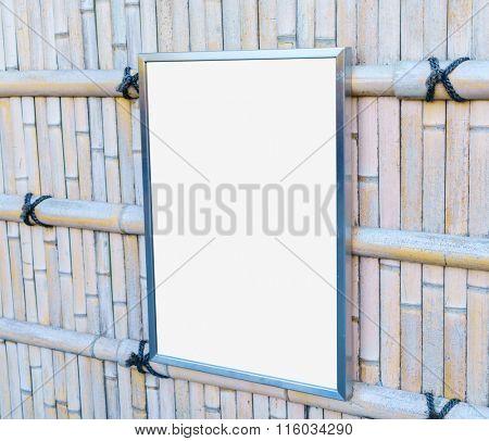 Empty frame On Bamboo Wood Fence