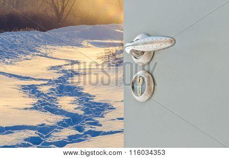 Open Door Winter  Footprints