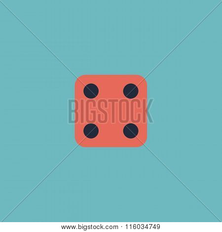 Vector illustration of one dice - side with 4.